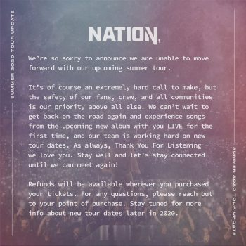 AWOLNation Cancelation message